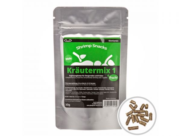 GlasGarten - Garnelenfutter Shrimp Snacks Kräutermix 1 +Frucht, 30g