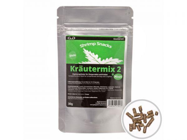 GlasGarten - Garnelenfutter Shrimp Snacks Kräutermix 2 +Minze, 30g